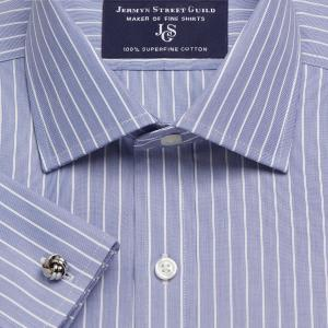 Navy Westminster Stripe Poplin Men's Shirt Available in Four Fits