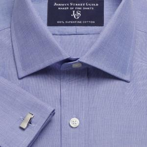 Navy End on End Poplin Men's Shirt Available in Four Fits