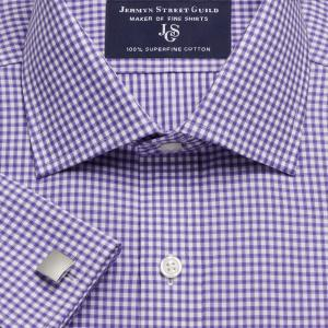 Purple Chelsea Check Twill Men's Shirt Available in Four Fits