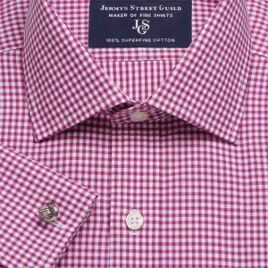 Magenta Chelsea Check Twill Men's Shirt Available in Four Fits