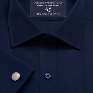 Navy Solid Poplin Men's Shirt Available in Four Fits
