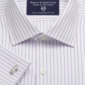 Lilac Herringbone Stripe Men's Shirt Available in Four Fits