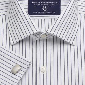 Navy Herringbone Stripe Men's Shirt Available in Four Fits