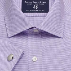 Lilac Houndstooth Check Twill Men's Shirt Available in Four Fits