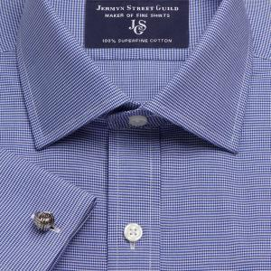 Navy Houndstooth Check Twill Men's Shirt Available in Four Fits