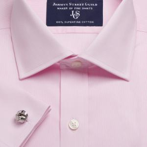 Pink Fine Pencil Stripe Twill Men's Shirt Available in Four Fits