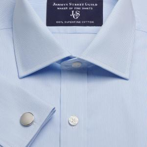 Sky Fine Pencil Stripe Twill Men's Shirt Available in Four Fits