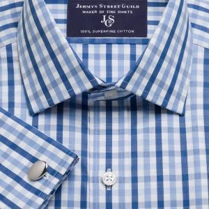 Blue & Navy Buckingham Check Poplin Men's Shirt Available in Four Fits