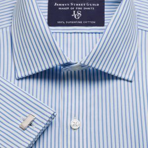 Sky Knightsbridge Stripe Poplin Men's Shirt Available in Four Fits