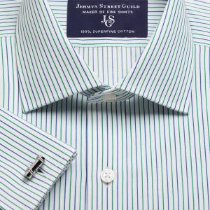 Green Marylebone Stripe Twill Men's Shirt Available in Four Fits