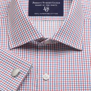 Red Marylebone Check Twill Men's Shirt Available in Four Fits