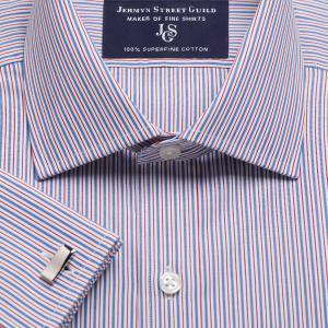 Red Trafalgar Stripe Poplin Men's Shirt Available in Four Fits