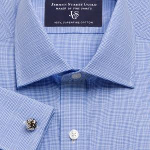 Blue Prince of Wales Check Poplin Men's Shirt Available in Four Fits