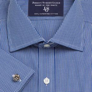 Navy Gingham Check Poplin Men's Shirt Available in Four Fits