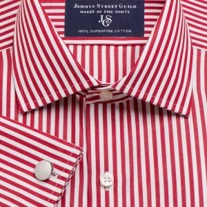 Red Bengal Stripe Poplin Men's Shirt Available in Four Fits