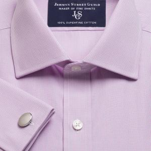 Lilac Micro Check Poplin Men's Shirt Available in Four Fits