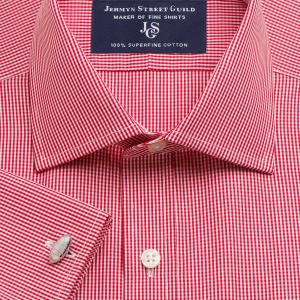 Red Gingham Check Poplin Men's Shirt Available in Four Fits