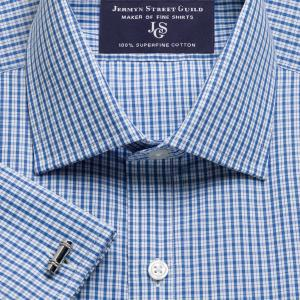 Blue Kensington Check Poplin Men's Shirt Available in Four Fits