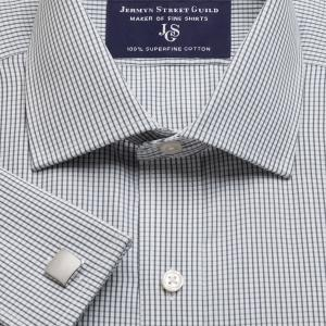 Charcoal Edinburgh Check Poplin Men's Shirt Available in Four Fits