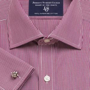 Burgundy Gingham Check Poplin Men's Shirt Available in Four Fits