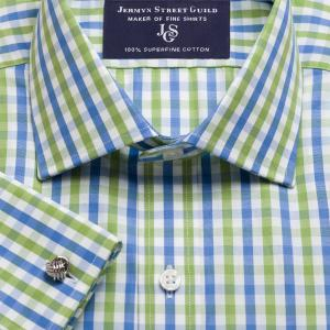 Green & Blue Buckingham Check Poplin Men's Shirt Available in Four Fits