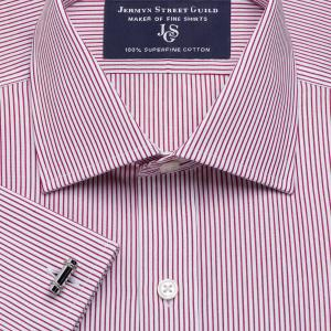 Red Edinburgh Stripe Poplin Men's Shirt Available in Four Fits