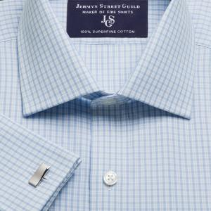 Sky Kensington Check Poplin Men's Shirt Available in Four Fits