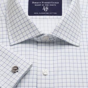 Navy Gloucester Check Twill Men's Shirt Available in Four Fits