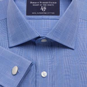Navy Large Prince of Wales Check Poplin Men's Shirt Available in Four Fits