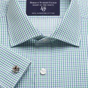 Green Marylebone Check Twill Men's Shirt Available in Four Fits