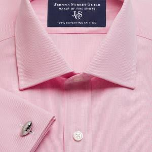 Pink Micro Check Poplin Men's Shirt Available in Four Fits