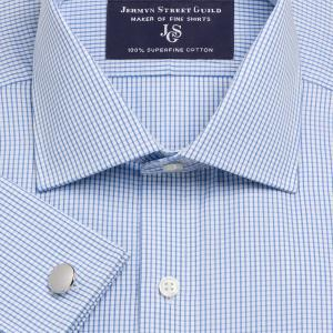 Sky Edinburgh Check Poplin Men's Shirt Available in Four Fits