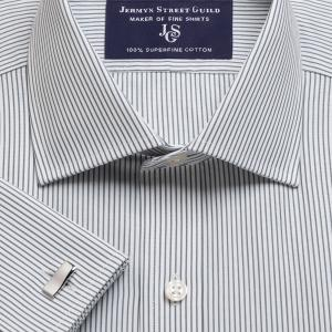 Charcoal Edinburgh Stripe Poplin Men's Shirt Available in Four Fits