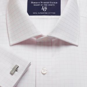 Pink Gloucester Check Twill Men's Shirt Available in Four Fits