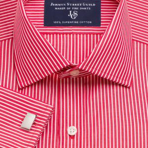 Red Mayfair Stripe Poplin Men's Shirt Available in Four Fits