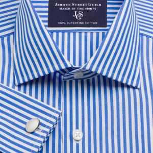 Blue Bengal Stripe Poplin Men's Shirt Available in Four Fits