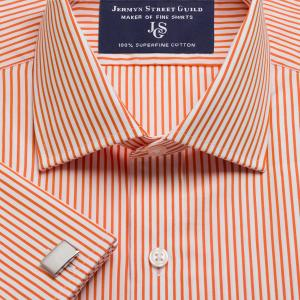Orange Knightsbridge Stripe Poplin Men's Shirt Available in Four Fits
