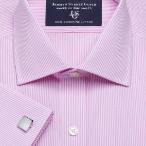 Pink French Bengal Stripe Poplin Men's Shirt Available in Four Fits