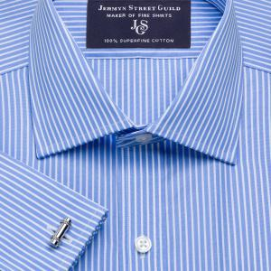 Blue Mayfair Stripe Poplin Men's Shirt Available in Four Fits