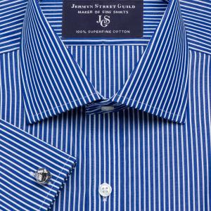 Navy Mayfair Stripe Poplin Men's Shirt Available in Four Fits