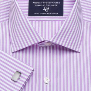 Lilac Bengal Stripe Poplin Men's Shirt Available in Four Fits