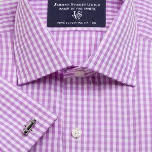 Lilac Bold Check Poplin Men's Shirt Available in Four Fits
