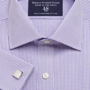 Purple Edinburgh Check Poplin Men's Shirt Available in Four Fits