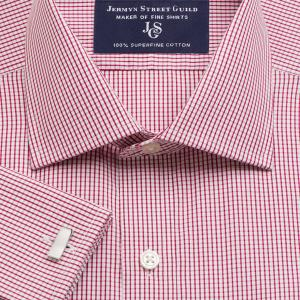 Red Edinburgh Check Poplin Men's Shirt Available in Four Fits