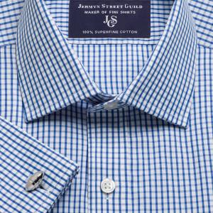 Blue Knightsbridge Check Poplin Men's Shirt Available in Four Fits