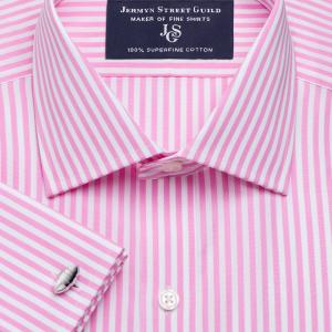 Pink Bengal Stripe Poplin Men's Shirt Available in Four Fits
