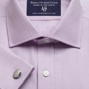 Lilac Prince of Wales Check Twill Men's Shirt Available in Four Fits