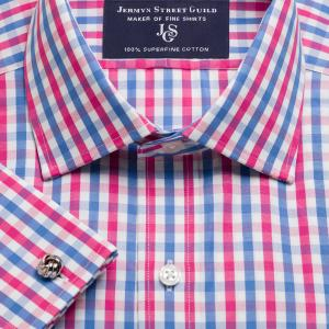 Pink & Blue Buckingham Check Poplin Men's Shirt Available in Four Fits