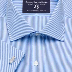 Sky French Bengal Stripe Poplin Men's Shirt Available in Four Fits