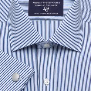 Navy Edinburgh Stripe Poplin Men's Shirt Available in Four Fits